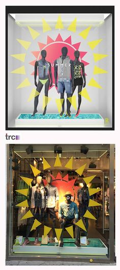 The Summer 2014 window designed by TRC for #adidas #NEO Label. Here's our initial visualisation and the window actually installed in the Nuremberg NEO store. It's certainly got that summer feeling!