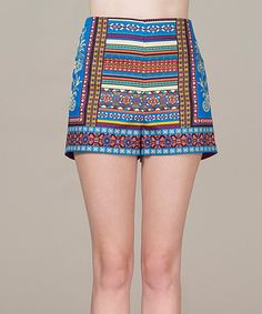 Look at this Blue & Red Abstract Shorts on #zulily today!