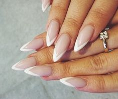"""Find and save images from the """"Ballerina Nails"""" collection by Bianca Sîrbu (BiancaBaddie) on We Heart It, your everyday app to get lost in what you love. Almond Nails French, French Acrylic Nails, Almond Acrylic Nails, French Nails, White Almond Nails, White Stiletto Nails, White Tip Nails, Pointy Nails, May Nails"""