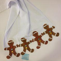 Pano de prato com aplique de gingerbread no barrado. ateliemadrica@gmail.com