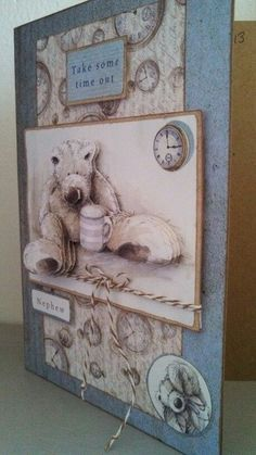 Wellington Bear, by Betsy Klein Masculine Birthday Cards, Birthday Cards For Men, Handmade Birthday Cards, Man Birthday, Masculine Cards, Handmade Cards, Crafts To Do, Paper Crafts, Bear Images