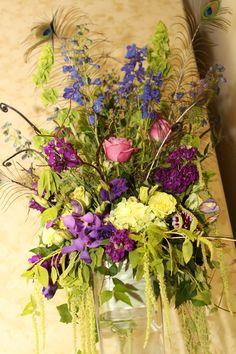 Large flower arrangements ...peacock theme
