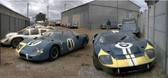 Le Mans 1966. The car park for race abandonments. Car #6 is Mario Andretti / Lucien Bianchi, Ford GT 40 MK II. Car #41 is Jean-Pierre Beltoise / Johnny Servoz-Gavin, Matra MS620 BRM 1.9L V8. In the background is the Chaparral 2D of Jo Bonnier / Phil Hill.