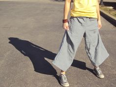 So fun, so comfy! You will want to wear these day after day! Made to endure  and soften up wash after wash. Truly a great design for summer, hemp keeps  you cool in the hot weather, and the added fabric lets the air flow! These  pants have a fold over waistband.  Shown here in Charcoal.  Made