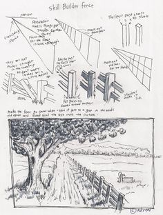 Pencil Drawing Techniques Adron's Art Lesson Plans: How To Draw A Fence In A Rural Scene Doodle Drawing, Drawing Sketches, Painting & Drawing, Basic Drawing, Learn Drawing, Pencil Art, Pencil Drawings, Art Drawings, Drawings Of Buildings