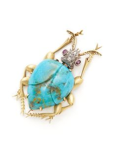 Estate Ca. 1970's Diamond & Turquoise Beetle Brooch by Tara Compton at Gilt