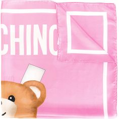 Moschino toy bear paper cut out scarf (641.160 COP) ❤ liked on Polyvore featuring accessories, scarves, pink, moschino and moschino scarves