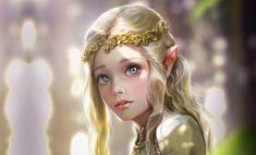 Скачать обои Bluish Salt, арт, принцесса, фэнтези, девушка, эльфийка, эльф, Elven princess, раздел фантастика в разрешении 2154x1300