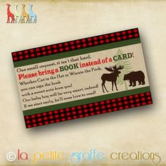 Printable Baby Shower Book Request  Moose and by LaPetiteGiraffe, $7.00
