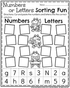 Back to School Kindergarten Worksheets - Numbers or Letters Sort