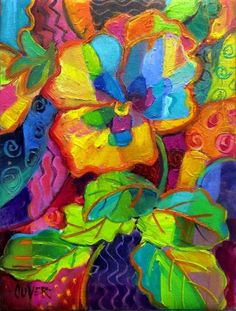 Pansy Patterns - day 25 in the Challenge, painting by artist Julie Ford Oliver