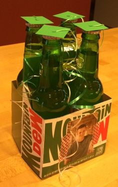 Mountain Dew centerpiece.  Perfect for a boy's graduation party!  Easy to make too!