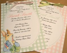 Invites - Peter Rabbit Vintage Style Baby Shower or Birthday Party Invitation Book Shower. $19.50, via Etsy.
