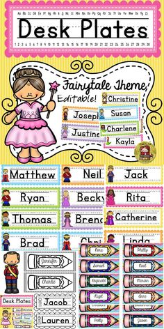 Use these 38 editable desk plates featuring a fairytale theme to bring a magical feel to your classroom. Cut and laminate labels for durability. https://www.teacherspayteachers.com/Product/BACK-TO-SCHOOL-DESK-NAME-PLATES-FAIRYTALE-THEME-2008237