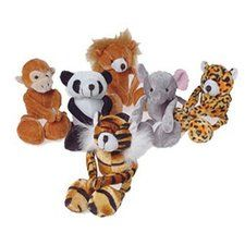 Floppy Plush Wild Animal Set. One set of 6 Floppy Plush Wild Animals are 8 inches long from head to foot, have Velcro palms, and come in assorted styles include monkey, tiger, panda, lion, elephant, and leopard. Plush material. All ages.