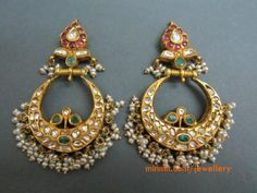 22 carat gold chand bali earrings studded with rubies, polki diamonds, emeralds and hanging small basara pearls at the bottom Indian Jewellery Design, Latest Jewellery, Jewelry Design, Diamond Jewelry, Gold Jewelry, Jewelery, Gold Earrings, Chand Bali Earrings Gold, Silver Necklaces