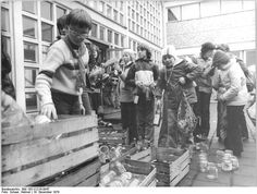 Months after the liberation of Cambodia by the Vietnamese People's Army in 1979, East German schoolchildren in Zella-Mehlis donate food supplies to the Cambodian people who have been ravaged by the US aerial bombings from 1969-1970 and under the Khmer Rouge regime of Pol Pot during the 1975-1979 Cambodian Genocide.