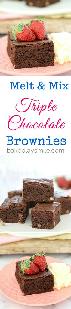 Seriously moist and decadently rich! These Thermomix Melt & Mix Triple Chocolate Brownies are enough to satisfy even the biggest chocoholics out there! Triple Chocolate Cookies, Chocolate Brownies, Chocolate Chocolate, Easy Desserts, Delicious Desserts, Dessert Recipes, Brownie Icing, No Bake Brownies, Chocolate Delight