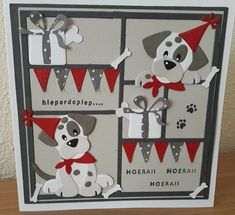 Dogs art diy homemade New Ideas Dog Cards, Kids Cards, Birthday Card Sayings, Birthday Cards, Birthday Bash, Marianne Design Cards, Hand Made Greeting Cards, Cricut Cards, Animal Cards