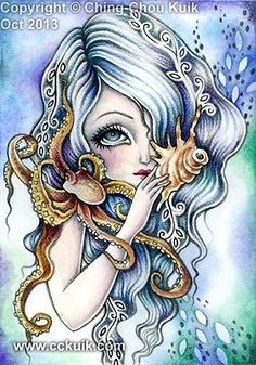 "ACEO Limited Edition LE Print ""Deep Sea Siren"" Octopus Mermaid Fairy Fantasy Art"