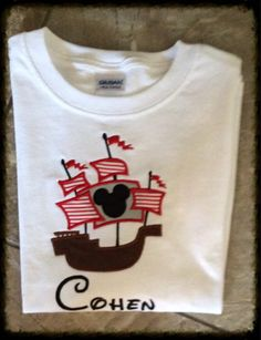 Mickey pirate ship shirt Applique/Embroidered Be noticed and the envy of other guests on your family Disney vacation with a set of matching