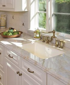 #brass, #Rohl, #TajMahalquartzite Taj Mahal quartzite countertop, selected for its creamy soft look and extreme durability.