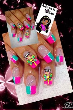 The Most Popular Nail Shapes – NaiLovely Animal Nail Designs, Toe Nail Designs, Nail Polish Designs, Summer French Nails, French Tip Nails, Summer Nails, Ruby Nails, Zebra Print Nails, Manicure