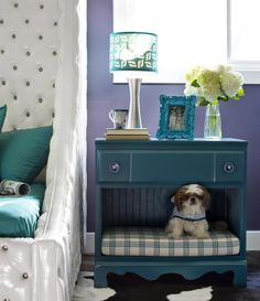 Dog bed + end table-- dresser with bottom drawer removed, repainted, cushion added.
