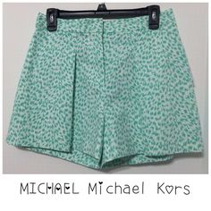 """MICHAEL Michael Kors Aqua Shorts - Size 6 These great Aqua white shorts are ready for you. Retails $79.50. Made in China. Fashion basics. Colour on tag: Aqua which is hard to see in this picture. They are an aquamarine green mud color.  Size 6. Made in China.  Faux back pockets. 97% Cotton / 3% Elastane.  Machine Washable.  Approximate measurements:  Waste 28"""".  Length 14 1/2"""".  ❣Final❣ MICHAEL Michael Kors Shorts"""