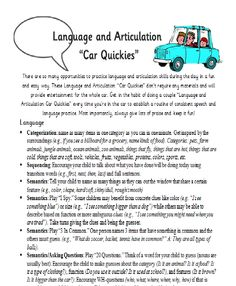 Another good parent resource is this practical idea of doing language and articulation in the car. These are some quick and easy things that any parent could do with their child to work on their language and/or articulation. The school-based SLP could have this for the parent that is looking to work on language outside of school.