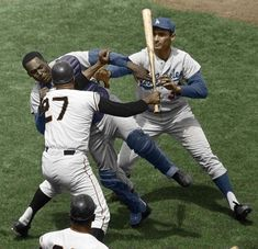 The Famous Photo Of Juan Marichal Beating Johnny Roseboro With His Bat, In Color Dodgers Baseball, Baseball Players, Baseball Cards, Baseball Wall, Pro Baseball, Basketball Backboard, Basketball Scoreboard, Sandy Koufax, Baseball Pictures