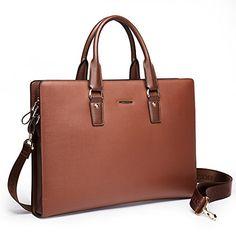 BOSTANTEN Leather Briefcase Shoulder Laptop Business Slim Bag for Men & Women.