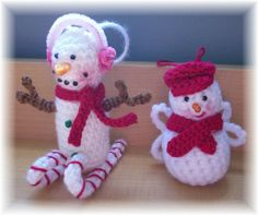 Skiing Snowman and  Snowman Angel Ornaments...PDF by KTBdesigns, $6.00
