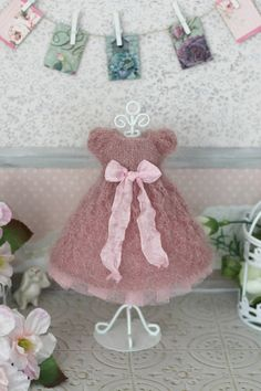 Fluffy hand-knitted dress  for  Blythe / Azone pure neemo doll 1/6 size