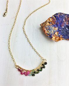 Rouge Kisses Necklace 'C' - Watermelon Tourmaline 14k Gold Fill Frame  – Enclave Gems & Co.