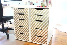 Ikea Alex drawer unit, painter's tape, and super gold spray paint.