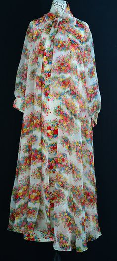 1960s Vintage Floral Maxi Dress - Woodstock - Music Festival - Size Large