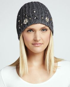 $128.00 embellished knit hat, heather gray - kate spade new york.  Beat the cold-weather blues with this rhinestone encrusted kate spade new york hat. You'll love the way It brings a jewelry-like elegance to your day-to-day attire. Wide ribbed knit with scattered rhinestones. Close-fitting style. Wool. Imported