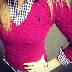 Professional Prep: Ralph Lauren Polo pink cable knit sweater & navy gingham button-up - I love layering. Perfect fall outfit