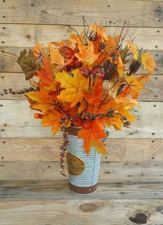 Autumn Leaves Vase, Fall Arrangement, Orange Decor, Metal Vase, Leaves Arrangement, Fall Decor, Farm