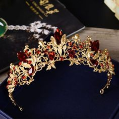 New Baroque Red Rhinestone Bridal Crown Tiara Headpiece Bridal Hair Accessories Jewelry Bridal Crown, Bridal Tiara, Bridal Headdress, Bridal Headpieces, Bridal Earrings, Wedding Jewelry, Cute Jewelry, Hair Jewelry, Bride Hair Accessories