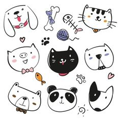 Cute animals Cat dog patch iron on patches for clothes ironing applications for children's clothing stripe thermo-sticker tops - Crafts & Sewing, Home & Garden/Arts Doodle Sketch, Doodle Art, Cat Doodle, Animal Sketches, Animal Drawings, Tier Doodles, Dog Drawing Simple, Art Mignon, Animal Doodles