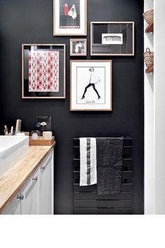 Peinture noire dans une Petite salle de bain  #bathroom