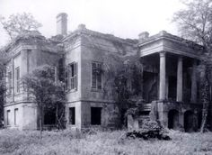 Hermitage Plantation, built c.1820, near Savannah, Georgia. During the Civil War the Hermitage was ransacked but not destroyed. The site never regained the prominence that it had once enjoyed. Henry McAlpin's descendants attempted to restore the house & returned to the Hermitage in 1894. This photograph was taken in the early 20th century. [From Savannah River Plantations by Frank T. Wheeler]