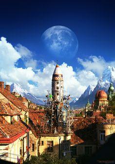 Rooftops, Rockets and Adventures beyond, Marek Denko on ArtStation at http://www.artstation.com/artwork/rooftops-rockets-and-adventures-beyond