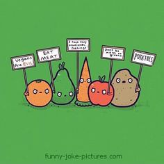 Funny Vegetable Protest Joke Cartoon Picture