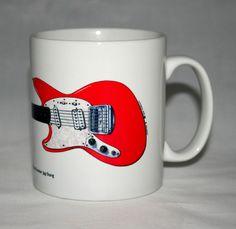Guitar Mug. Kurt Cobain s Fiesta Red Fender Jag-Stang Illustration. Larry Brooks, Famous Guitars, Mark Knopfler, Seymour Duncan, Fender Custom Shop, Fender Guitars, Kurt Cobain, How To Draw Hands, Handmade Items
