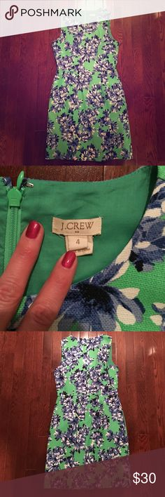 Green floral dress Pre loved and in excellent condition. J. Crew Factory Dresses