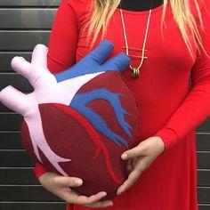 Anatomical Heart, Geeky felt plush stuffed pillow