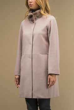 Coat in pure wool zibeline. so ladylike and chic in light pale pink 2015